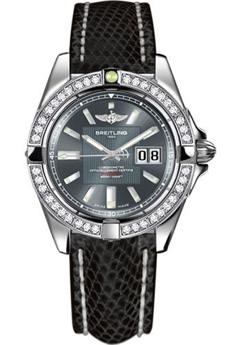 Breitling Watches - Galactic 41 Stainless Steel - Dia Bezel - Lizard Strap - Deployant - Style No: A49350LA/F549-lizard-black-deployant