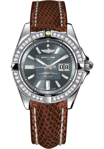 Breitling Watches - Galactic 41 Stainless Steel - Dia Bezel - Lizard Strap - Deployant - Style No: A49350LA/F549-lizard-brown-deployant