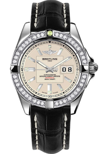 Breitling Watches - Galactic 41 Stainless Steel - Dia Bezel - Croco Strap - Deployant - Style No: A49350LA/G699-croco-black-deployant