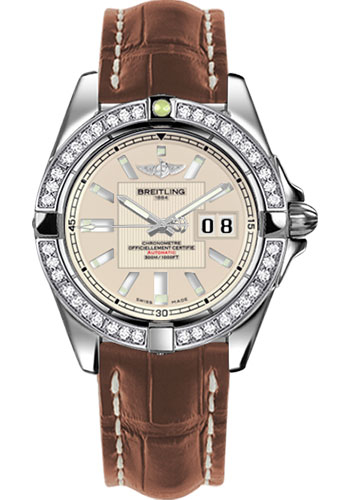 Breitling Watches - Galactic 41 Stainless Steel - Dia Bezel - Croco Strap - Deployant - Style No: A49350LA/G699-croco-gold-deployant