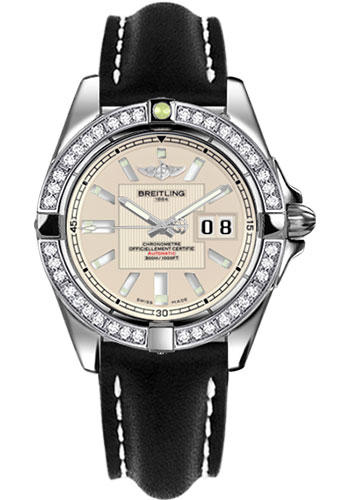 Breitling Watches - Galactic 41 Stainless Steel - Dia Bezel - Leather Strap - Deployant - Style No: A49350LA/G699-leather-black-deployant