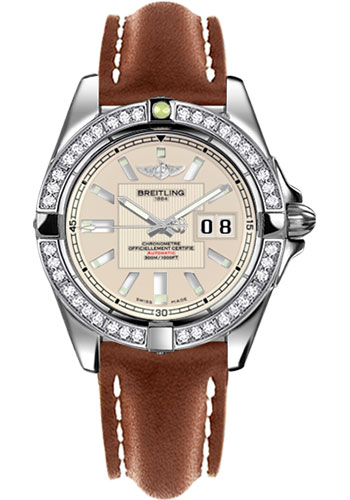 Breitling Watches - Galactic 41 Stainless Steel - Dia Bezel - Leather Strap - Tang - Style No: A49350LA/G699-leather-gold-tang