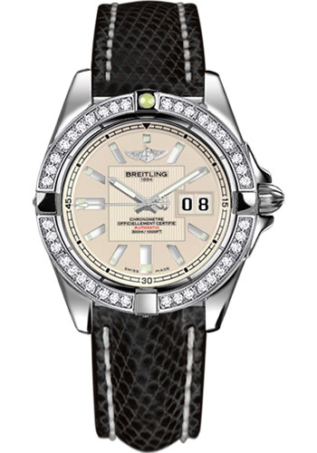 Breitling Watches - Galactic 41 Stainless Steel - Dia Bezel - Lizard Strap - Deployant - Style No: A49350LA/G699-lizard-black-deployant