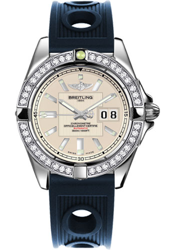 Breitling Watches - Galactic 41 Stainless Steel - Dia Bezel - Ocean Racer Strap - Style No: A49350LA/G699-ocean-racer-blue-deployant