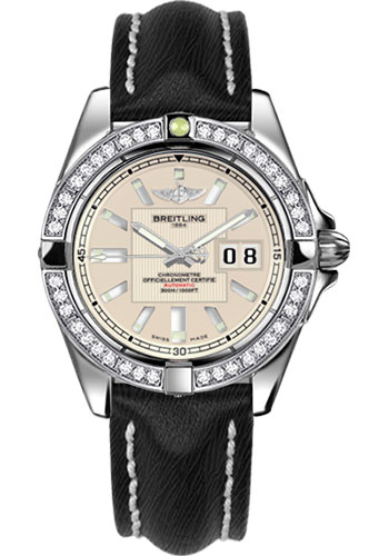 Breitling Watches - Galactic 41 Stainless Steel - Dia Bezel - Sahara Strap - Tang - Style No: A49350LA/G699-sahara-black-tang