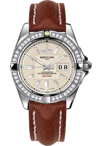 Breitling Watches - Galactic 41 Stainless Steel - Dia Bezel - Sahara Strap - Deployant - Style No: A49350LA/G699-sahara-brown-deployant