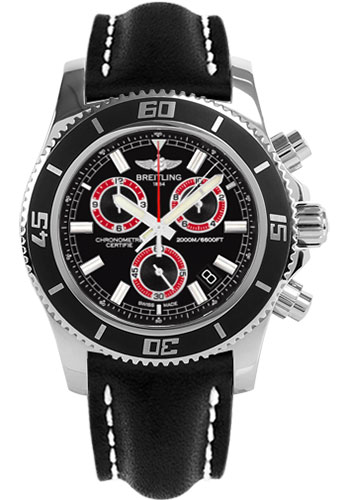Breitling Watches - Superocean Chronograph M2000 Leather Strap - Style No: A73310A8/BB72-leather-black-tang