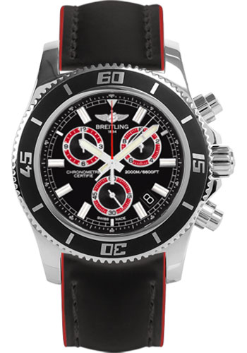 Breitling Watches - Superocean Chronograph M2000 Superocean Leather Strap - Style No: A73310A8/BB72-superocean-leather-black-and-red-tang