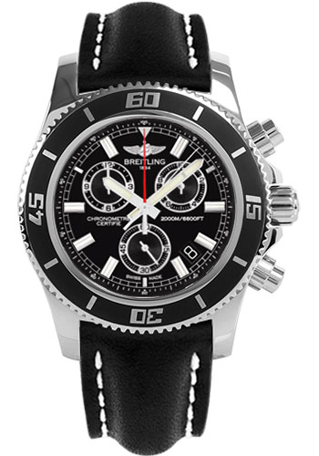 Breitling Watches - Superocean Chronograph M2000 Leather Strap - Style No: A73310A8/BB73-leather-black-tang
