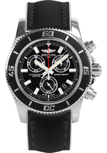 Breitling Watches - Superocean Chronograph M2000 Superocean Leather Strap - Style No: A73310A8/BB73-superocean-leather-black-and-white-tang
