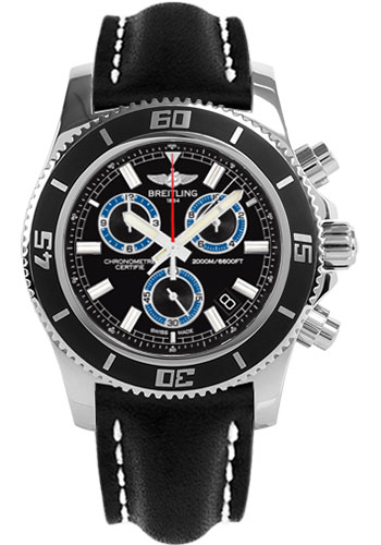 Breitling Watches - Superocean Chronograph M2000 Leather Strap - Style No: A73310A8/BB74-leather-black-tang