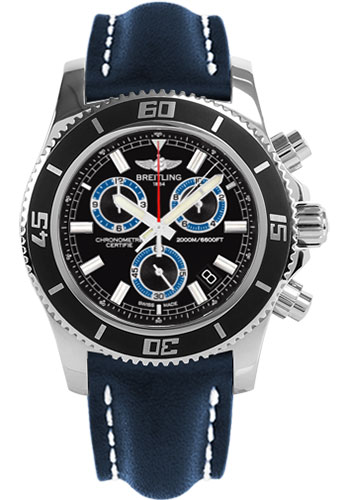 Breitling Watches - Superocean Chronograph M2000 Leather Strap - Style No: A73310A8/BB74-leather-blue-tang