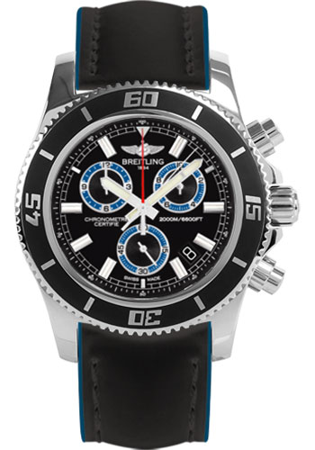 Breitling Watches - Superocean Chronograph M2000 Superocean Leather Strap - Style No: A73310A8/BB74-superocean-leather-black-and-blue-tang