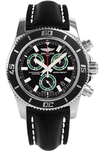 Breitling Watches - Superocean Chronograph M2000 Leather Strap - Style No: A73310A8/BB75-leather-black-tang