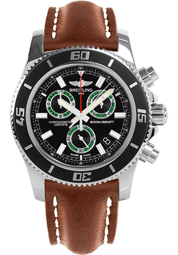 Breitling Watches - Superocean Chronograph M2000 Leather Strap - Style No: A73310A8/BB75-leather-gold-tang