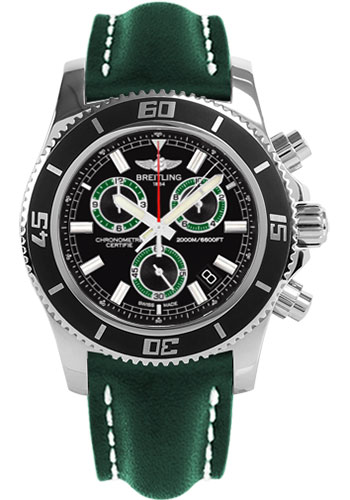 Breitling Watches - Superocean Chronograph M2000 Leather Strap - Style No: A73310A8/BB75-leather-green-tang
