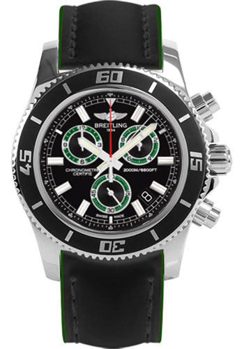 Breitling Watches - Superocean Chronograph M2000 Superocean Leather Strap - Style No: A73310A8/BB75-superocean-leather-black-and-green-tang