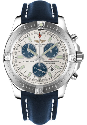 Breitling Watches - Colt Chronograph Leather Strap - Deployant - Style No: A7338811/G790-leather-blue-deployant