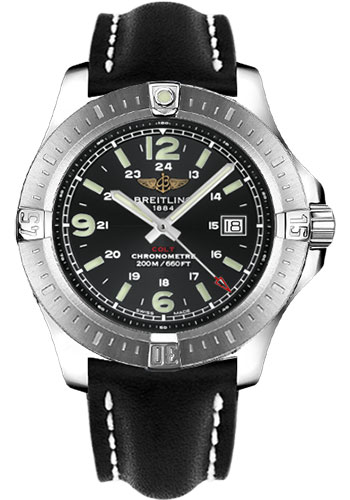Breitling Watches - Colt Quartz Leather Strap - Deployant - Style No: A7438811/BD45-leather-black-deployant
