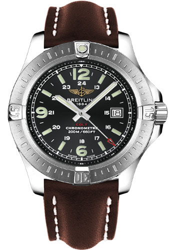 Breitling Watches - Colt Quartz Leather Strap - Deployant - Style No: A7438811/BD45-leather-brown-deployant