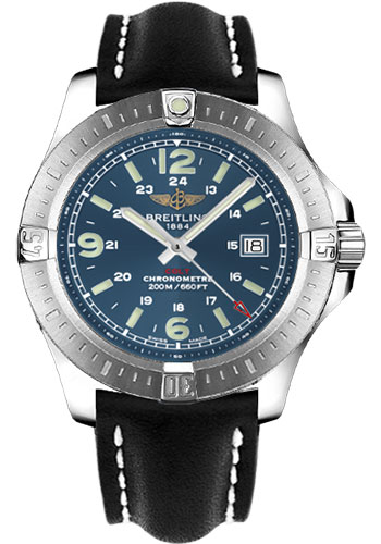Breitling Watches - Colt Quartz Leather Strap - Deployant - Style No: A7438811/C907-leather-black-deployant
