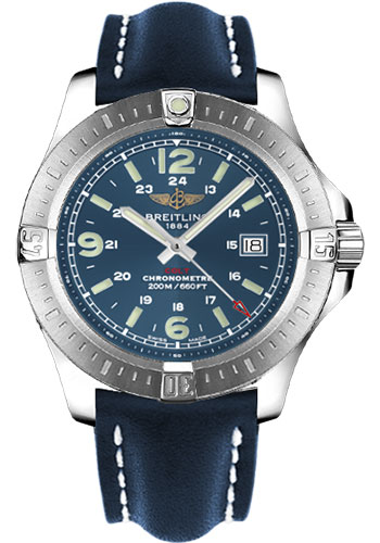 Breitling Watches - Colt Quartz Leather Strap - Tang - Style No: A7438811/C907-leather-blue-tang