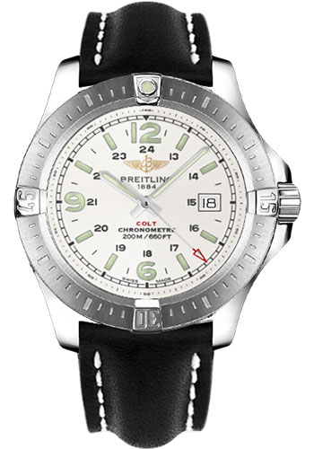 Breitling Watches - Colt Quartz Leather Strap - Deployant - Style No: A7438811/G792-leather-black-deployant
