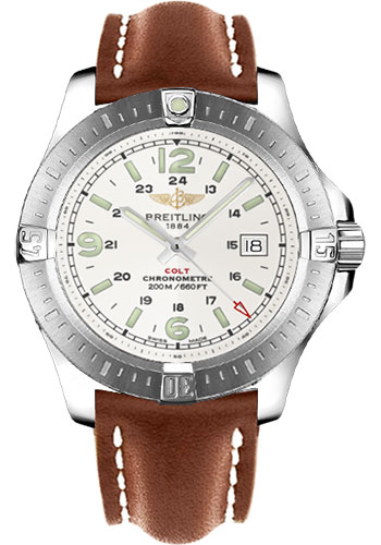 Breitling Watches - Colt Quartz Leather Strap - Deployant - Style No: A7438811/G792-leather-gold-deployant