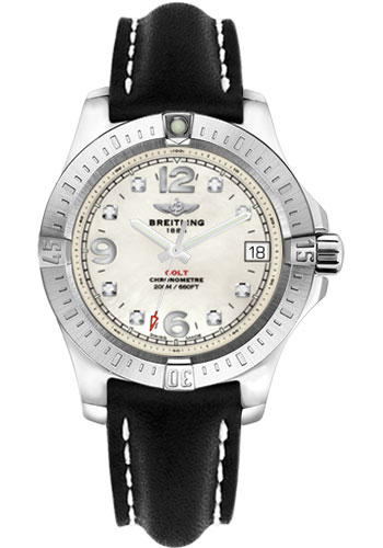 Breitling Watches - Colt 36 Leather Strap - Deployant - Style No: A7438911/A771-leather-black-deployant