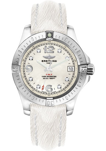 Breitling Watches - Colt 36 Sahara Strap - White - Deployant - Style No: A7438911/A771-sahara-white-deployant