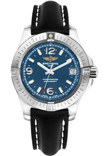 Breitling Watches - Colt 36 Leather Strap - Tang - Style No: A7438911/C913-leather-black-tang