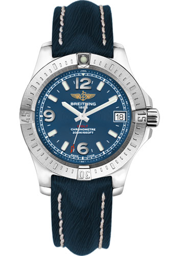Breitling Watches - Colt 36 Sahara Strap - Mariner Blue - Deployant - Style No: A7438911/C913-sahara-mariner-blue-deployant