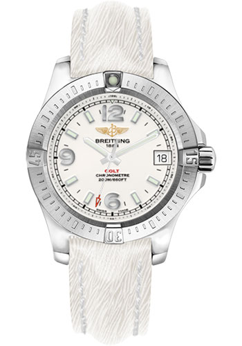 Breitling Watches - Colt 36 Sahara Strap - White - Deployant - Style No: A7438911/G803-sahara-white-deployant