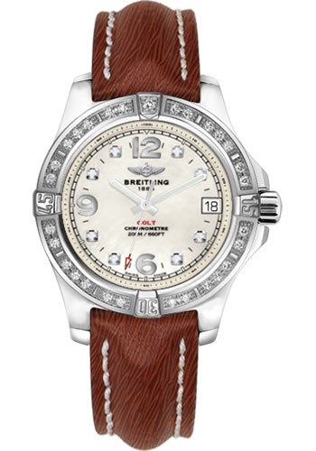 Breitling Watches - Colt 36 Diamond Bezel - Sahara Strap - Brown - Deployant - Style No: A7438953/A771/247X/A16D.1