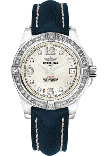 Breitling Watches - Colt 36 Diamond Bezel - Sahara Strap - Mariner Blue - Tang - Style No: A7438953/A771-sahara-mariner-blue-tang