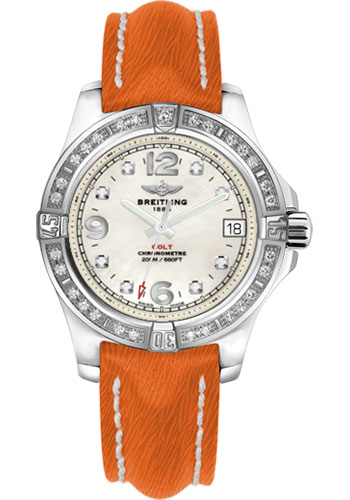Breitling Watches - Colt 36 Diamond Bezel - Sahara Strap - Orange - Tang - Style No: A7438953/A771/217X/A16BA.1