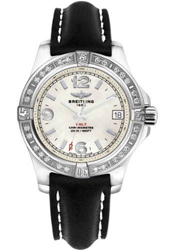 Breitling Watches - Colt 36 Diamond Bezel - Leather Strap - Tang - Style No: A7438953/A772-leather-black-tang