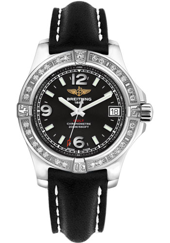 Breitling Watches - Colt 36 Diamond Bezel - Leather Strap - Deployant - Style No: A7438953/BD82-leather-black-deployant