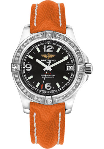 Breitling Watches - Colt 36 Diamond Bezel - Sahara Strap - Orange - Tang - Style No: A7438953/BD82-sahara-orange-tang