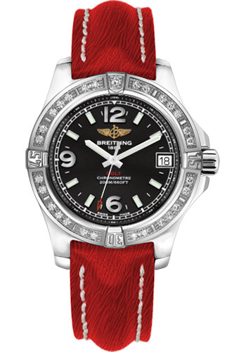 Breitling Watches - Colt 36 Diamond Bezel - Sahara Strap - Red - Deployant - Style No: A7438953/BD82-sahara-red-deployant
