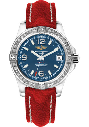Breitling Watches - Colt 36 Diamond Bezel - Sahara Strap - Red - Deployant - Style No: A7438953/C913-sahara-red-deployant
