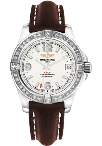 Breitling Watches - Colt 36 Diamond Bezel - Leather Strap - Deployant - Style No: A7438953/G803-leather-brown-deployant