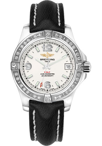 Breitling Watches - Colt 36 Diamond Bezel - Sahara Strap - Black - Tang - Style No: A7438953/G803-sahara-black-tang