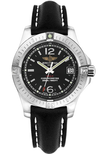 Breitling Watches - Colt Lady Leather Strap - Tang - Style No: A7738811/BD46-leather-black-tang