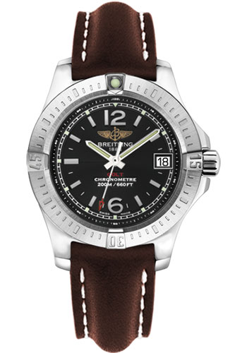 Breitling Watches - Colt Lady Leather Strap - Tang - Style No: A7738811/BD46-leather-brown-tang
