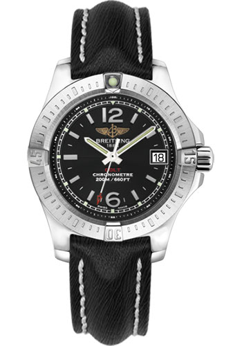 Breitling Watches - Colt Lady Sahara Leather Strap - Tang - Style No: A7738811/BD46-sahara-black-tang