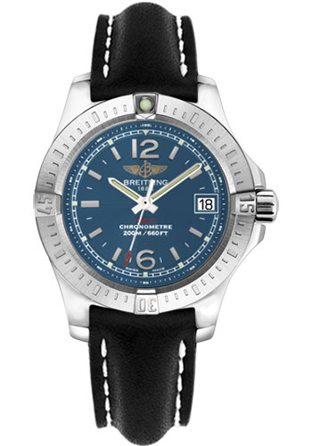 Breitling Watches - Colt Lady Leather Strap - Tang - Style No: A7738811/C908-leather-black-tang