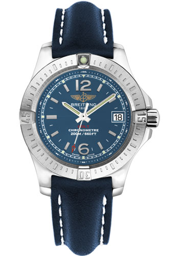 Breitling Watches - Colt Lady Leather Strap - Tang - Style No: A7738811/C908-leather-blue-tang