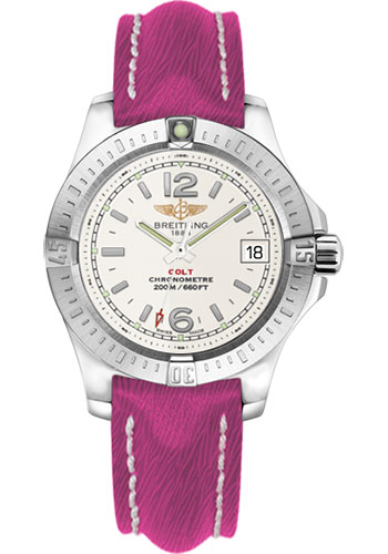 Breitling Watches - Colt Lady Sahara Leather Strap - Deployant - Style No: A7738811/G793-sahara-fuschia-deployant