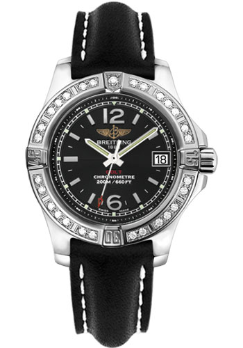 Breitling Watches - Colt Lady Diamond Bezel - Leather Strap - Deployant - Style No: A7738853/BD46-leather-black-deployant
